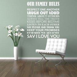 Vinilos decorativos textos OUR FAMILY RULES