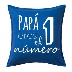 Cojines originales con texto Papá eres el número 1 en color azul