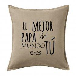 Cojines para sofas en color rojo con el texto El mejor papá del mudo eres tú