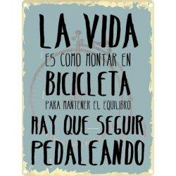 Placa decorativa La vida es como montar en bicicleta impresa en aluminio