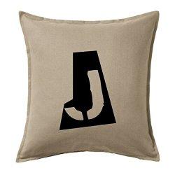 Funda cojines vintage letra J en color gris