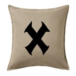 Fundas y cojines con la letra X en color negro