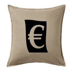 Cojín símbolo euro € estilo vintage o retro negro