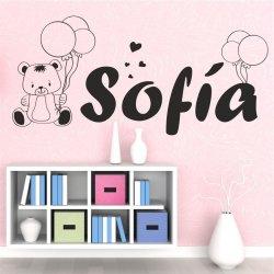 Vinilos nombre Sofía con ositos y globos