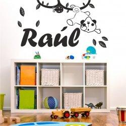 Vinilos nombre Raúl con un mono en una rama