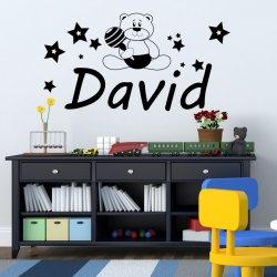 Vinilos nombre David con osito infantil