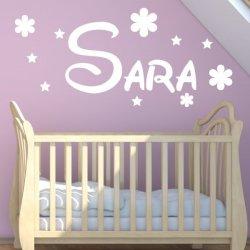 Vinilo decorativo Sara con flores y estrellas