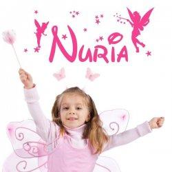 Vinilo nombre Nuria con hadas y estrellas