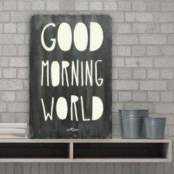 Cuadros con frases en madera Good Morning World