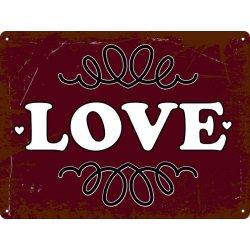 Cartel metálico vintage love para decoración de paredes y puertas