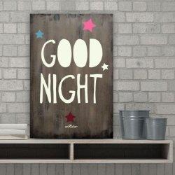 Cuadros con frases en madera Good Night color cacao
