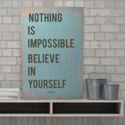 Cuadros estilo nórdico con texto Nothing is impossible