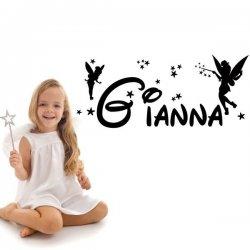 Vinilo nombre Gianna con hadas y estrellas