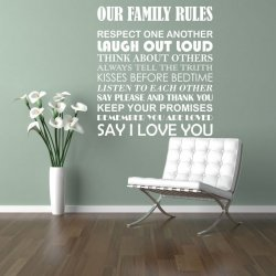 Vinilos decorativos textos OUR FAMILY RULES