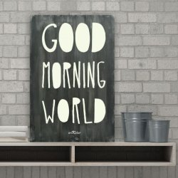 Cuadros con frases en madera Good Morning World