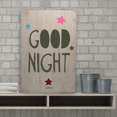 Cuadros con frases en madera Good Night color blanco