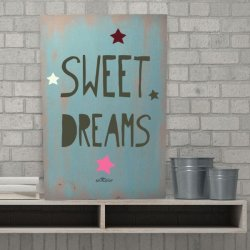 Cuadros con frases en madera Sweet Dreams color azul