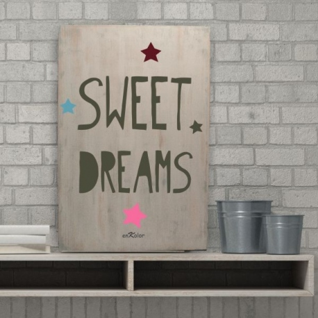 Cuadros con frases en madera Sweet Dreams color blanco