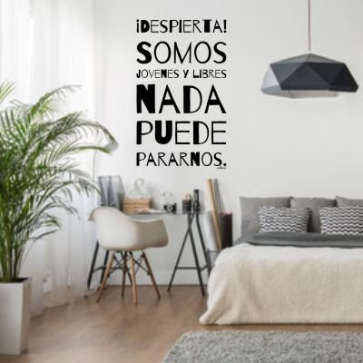 Vinilos decorativos pegatinas frase despierta for Decoracion de interiores frases